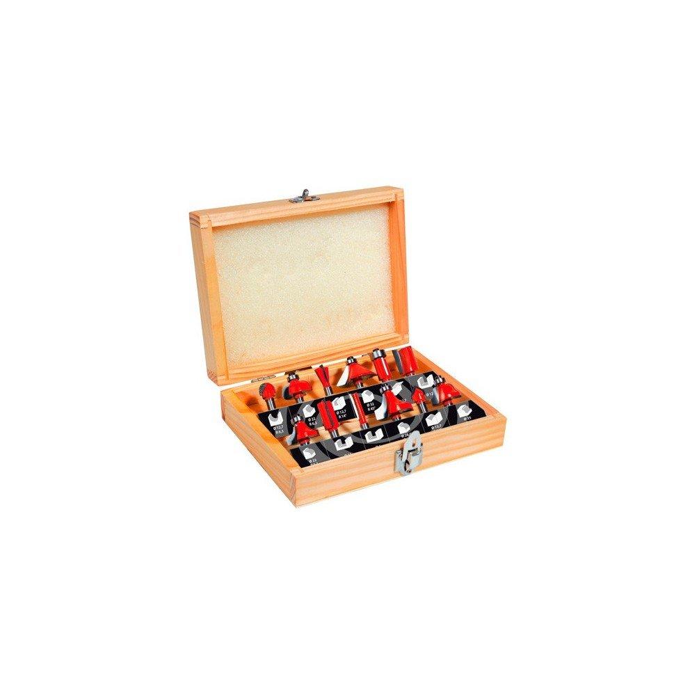 Mecabois - Coffret bois assortiment de 12 fraises queue de 6 mm