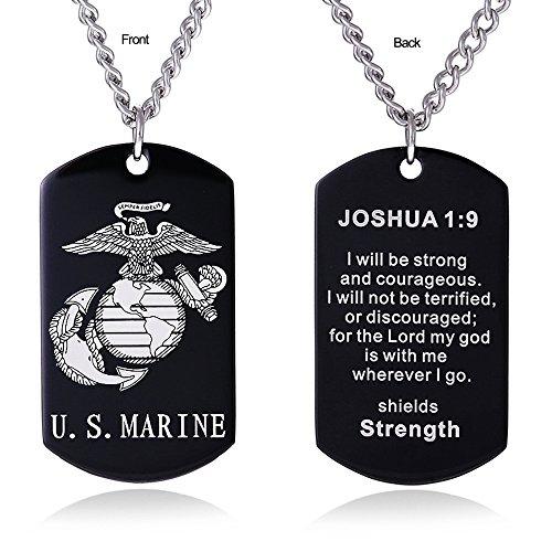 - ZJFHTD USMC Marine Corps Dog Tag Necklace Jewelry for Men Semper Fidelis Bible Prayer Military Son Gift-C4(Black-Joshua 1:9)