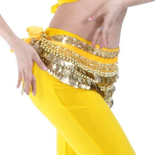 BellyLady Multi-Row Gold Coins Belly Dance Skirt Wrap & Hip Scarf, Gift Idea-Yellow