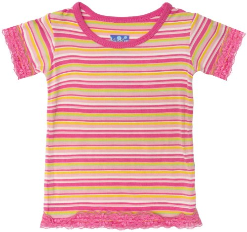 KicKee Pants Baby Girls' Print Lace Trimmed Tee (Baby) - Island Girl Stripe - 6-12 Months