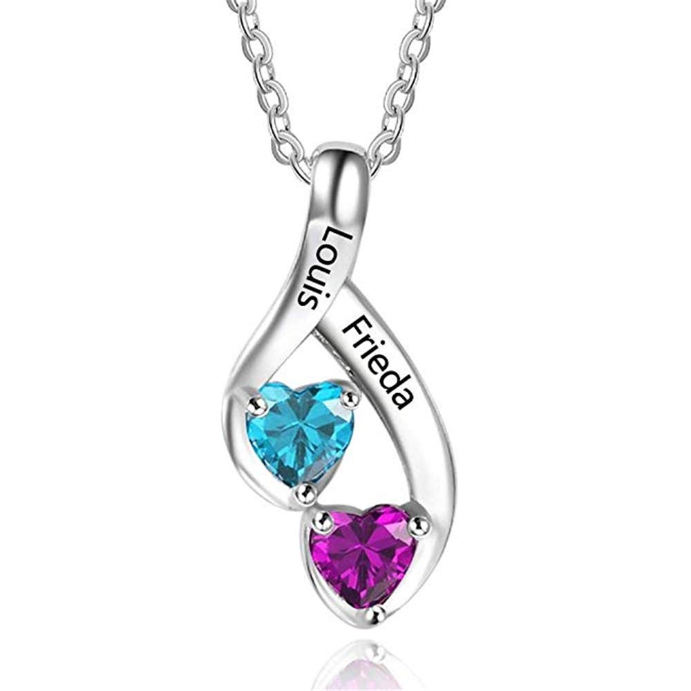 FACOCO Customized Necklace Personalized 2 Names with Heart Shaped Birthstone Necklace