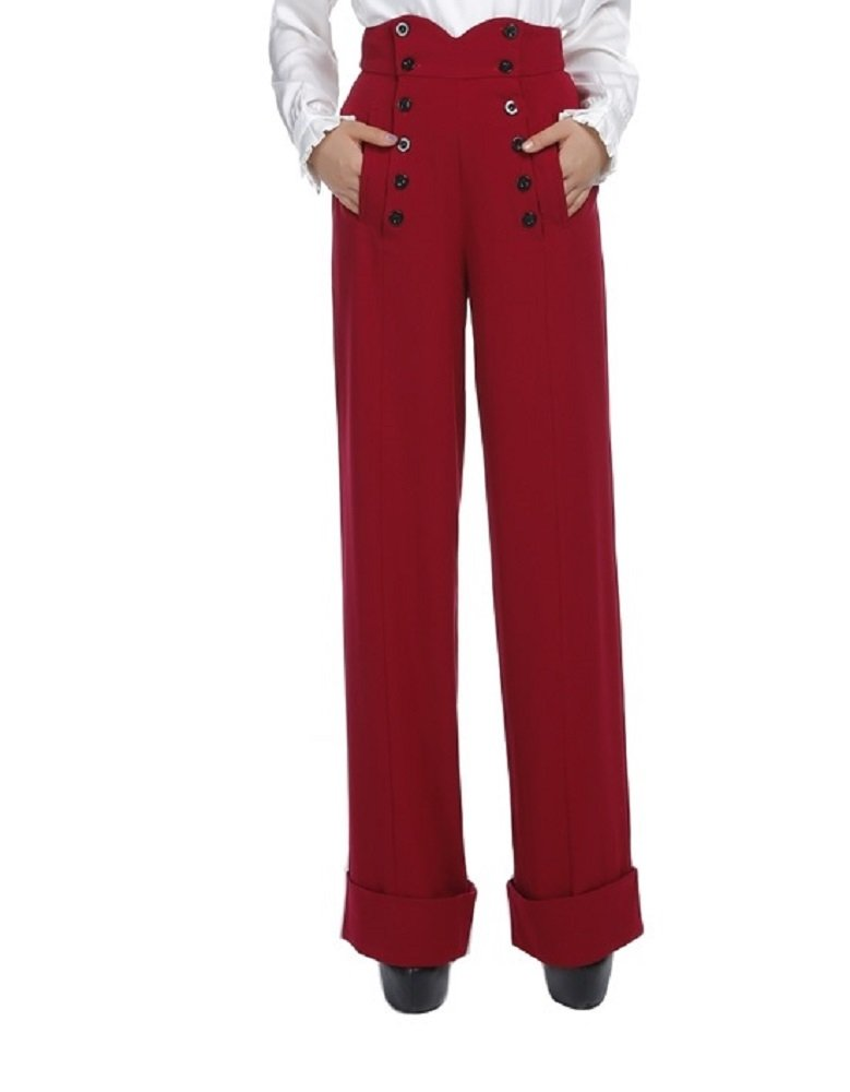 50's Vintage Style High Waist Double Buttoned Front Red Wide Leg Cuffed Pants (12 (EU44))