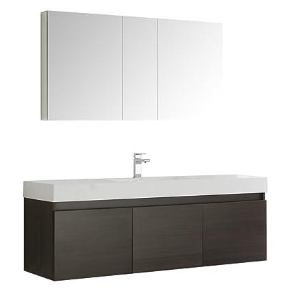 Amazon Com Fresca Mezzo 60 Gray Oak Wall Hung Single Sink Modern