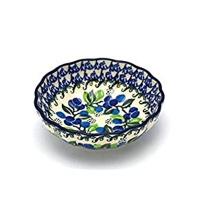 Polish Pottery Bowl – Shallow Scalloped – Small – Blue Berries