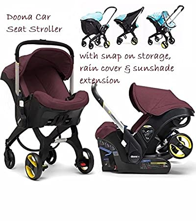 Doona Stroller With Snap On Storage Rain Cover Sunshade Extension Burgundy