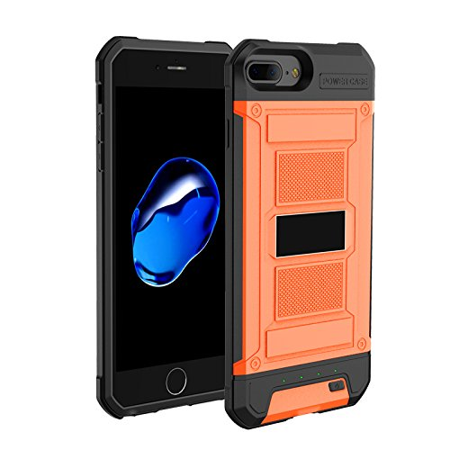MUSTTRUE 3000Mah Silicone Battery Charger Case For Both iPhone7 and iPhone 6(S)p4.7' power Case Rechargeable Backup Battery Power bank Charger Case,Silicone 360% Protective Charging Case (orange)