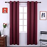 Cheap KEQIAOSUOCAI Inherent Flame Retardant Curtains 250GSM Room Darkening Thermal Insulated Grommet Blackout Curtain Panel for Bedroom Living Room,1 Panel,42Wx84L,Wine