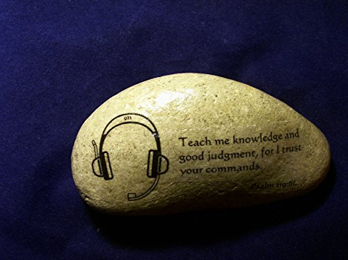 911 Dispatcher Stone gift Bible verse Prayer Psalm 119:66 Police headset