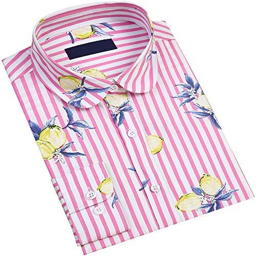 (DOKKIA Women's Tops Tropical Casual Blouses Long Sleeve Work Button Up Dress Beach Aloha Hawaiian Shirts (Striped Lemon Pink Yellow, X-Large))
