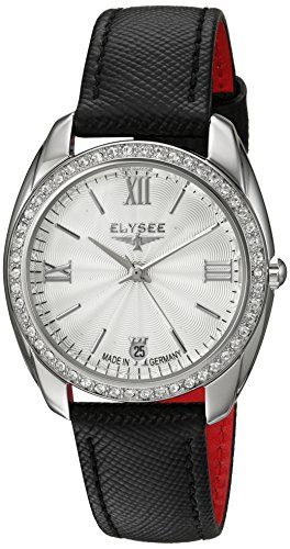 (ELYSEE Women's Watch 'Ladies-Edition' Quartz Stainless Steel and Black Leather Strap Wristwatch with White Crystals)