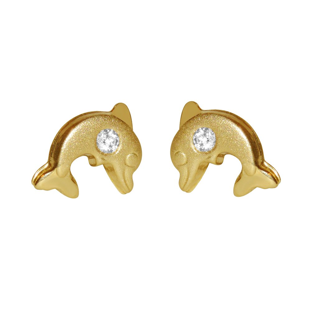 14k Yellow Gold Children's Cubic Zirconia Dolphin Safety Stud Earrings Precious Stars AD-084