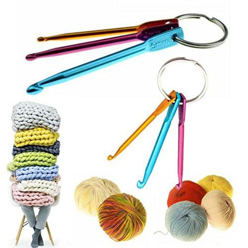 AKOAK 2 Set 6 Pieces Mini Keychain Aluminum Crochet Hooks Sweater Knitting Needles Tool(3mm&4mm&5mm)