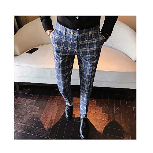 ZFADDS Men Dress Pant Plaid Business Casual Slim Fit Pantalon Homme Classic Suit Trousers Wedding Pants Blue 30
