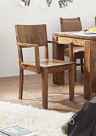 Chaise avec accoudoir/Fauteuil - Bois massif de palissandre laqué ...