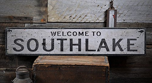 Welcome to SOUTHLAKE - Custom SOUTHLAKE, TEXAS US City, State Distressed Wooden Sign - 9.25 x 48 - Of Shops Southlake The
