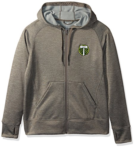 MLS Portland Timbers Women's Primary Logo Fleece Full Zip Hoodie, Large, Gray by adidas