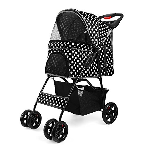 Flexzion Pet Stroller Dog Cat Small Animals Carrier Cage 4 Wheels Folding Flexible Easy Walk for Jogger Jogging Travel Up to 30 Pounds With Rain Cover Cup Holder and Mesh Window, Dot Black by Flexzion