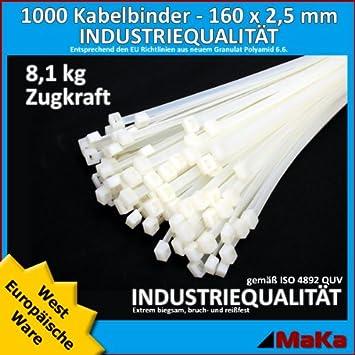 Natur  160 x 2,5 Europäische Ware// Industriequalität 500 Stck Kabelbinder weiß