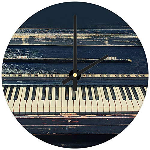 hiusan Black Vintage Piano Modern Wood Wall Clocks Silent Noticking Decorative for Living Room for Kitchen for Bedrooms 12in