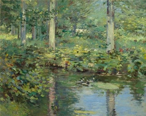 Oil Painting 'Theodore Robinson,The Duck Pond,ca.1888-1893', 10 x 13 inch / 25 x 32 cm , on High Definition HD canvas prints is for Gifts And Gym, Powder Room And (Leopard Print Halloween Tutorial)