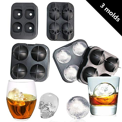 (ice cube trays silicone - 3 piece ice cube set, ice cube trays with lids and large Ice Cube Skull, reusable and without BPA)