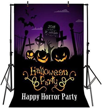 SZZWY Halloween Backdrop 6x8ft Vinyl Photography Background Gloomy Graveyard Creepy Pumpkin Lantern Tombstone Bat Ghost Cross Happy Horror Party Blood Children Kid Photo Vedio Studio Props