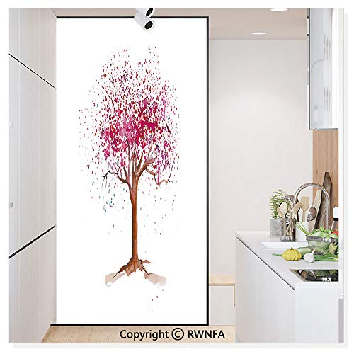 (Window Film Door Sticker Glass Film Japanese Cherry Blossom Buds Sakura Tree in Watercolor Beauty Essence Artwork Both Suitable for Home and Office, 17.7 x 78.7 inch,Magenta Redwood)