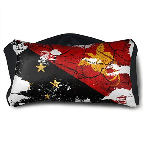 SUNNMOON Papua New Guinea Flag Neck Travel Pillow and Eye Mask Compact Versatile and Pillow for Airplanes, Travel Pillow and Eye Mask Washable Pillows