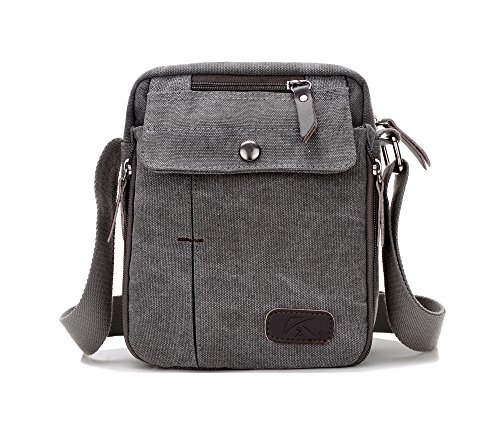 Heavy-Duty Vintage Canvas Small Messenger Bag Classic Multifunctional Multi-pocket Mini Shoulder Crossbody Bags Travel Purse ()