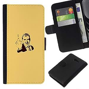KLONGSHOP // Tirón de la caja Cartera de cuero con ranuras para tarjetas - Cartel del caballero Hombre Usted - Sony Xperia M2 //