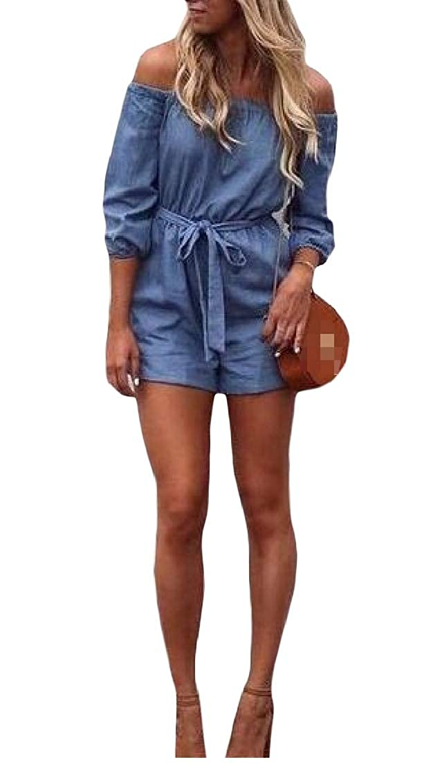 Joe Wenko Womens Hipster Jean Off Shoulder Denim Shorts Drawstring Jumpsuit