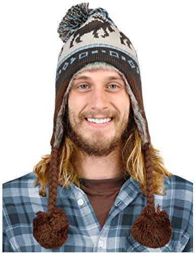 Knitted Faux Fur Ear Flap Winter Ski Hat Moose