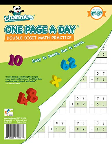 Channie's One Page A Day Double Digit Math Problem Workbook for 1st - 3rd Grade Simply Tear Off On Page a Day For Math Repetition Exercise! (Daily Math Practice Grade 1)