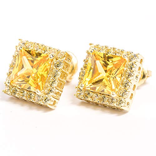 14K Gold Plated Canary Yellow Cubic Zirconia CZ Square Earrings
