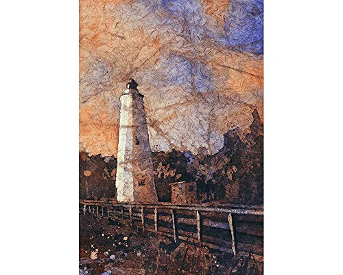 - Fine art watercolor painting of Ocracoke Island lighthouse at sunset in the Outer Banks (OBX) of North Carolina- USA (print)
