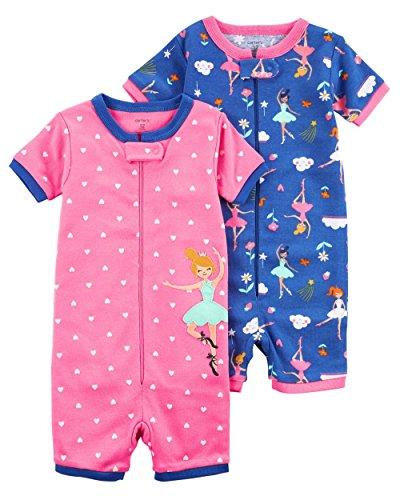 Footless Romper - Carter's Girls' 2-Pack Zip-Up Snug Fit Cotton Romper PJS (4T, Pink/Blue)