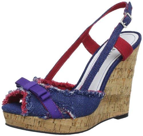CAFèNOIR ED911 - Zapatos de tacón de lona para mujer Azul (Blau (367 JEANS 367 JEANS))