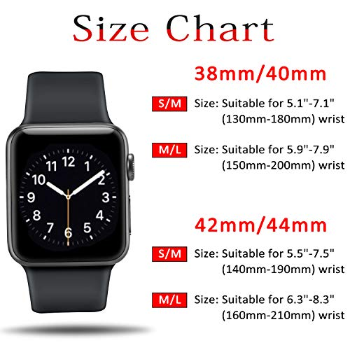 ATUP Compatible Apple Watch Band 38mm 40mm 42mm 44mm Women Men Soft Silicone Band Compatible iWatch Series 4 Series 3 Series 2 Series 1