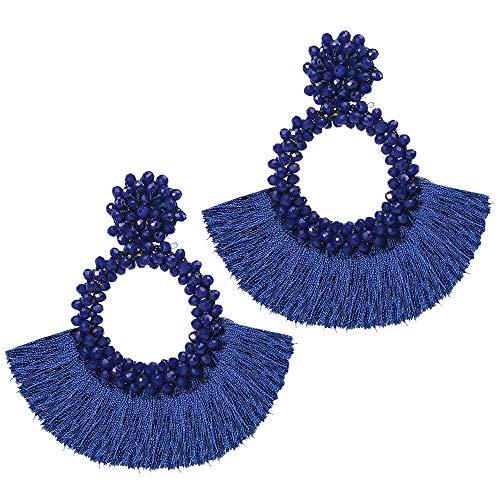 Beaded Hoop Tassel Earrings for Women Statement Bohemian Beaded Drop Fan Fringe Dangle Earrings