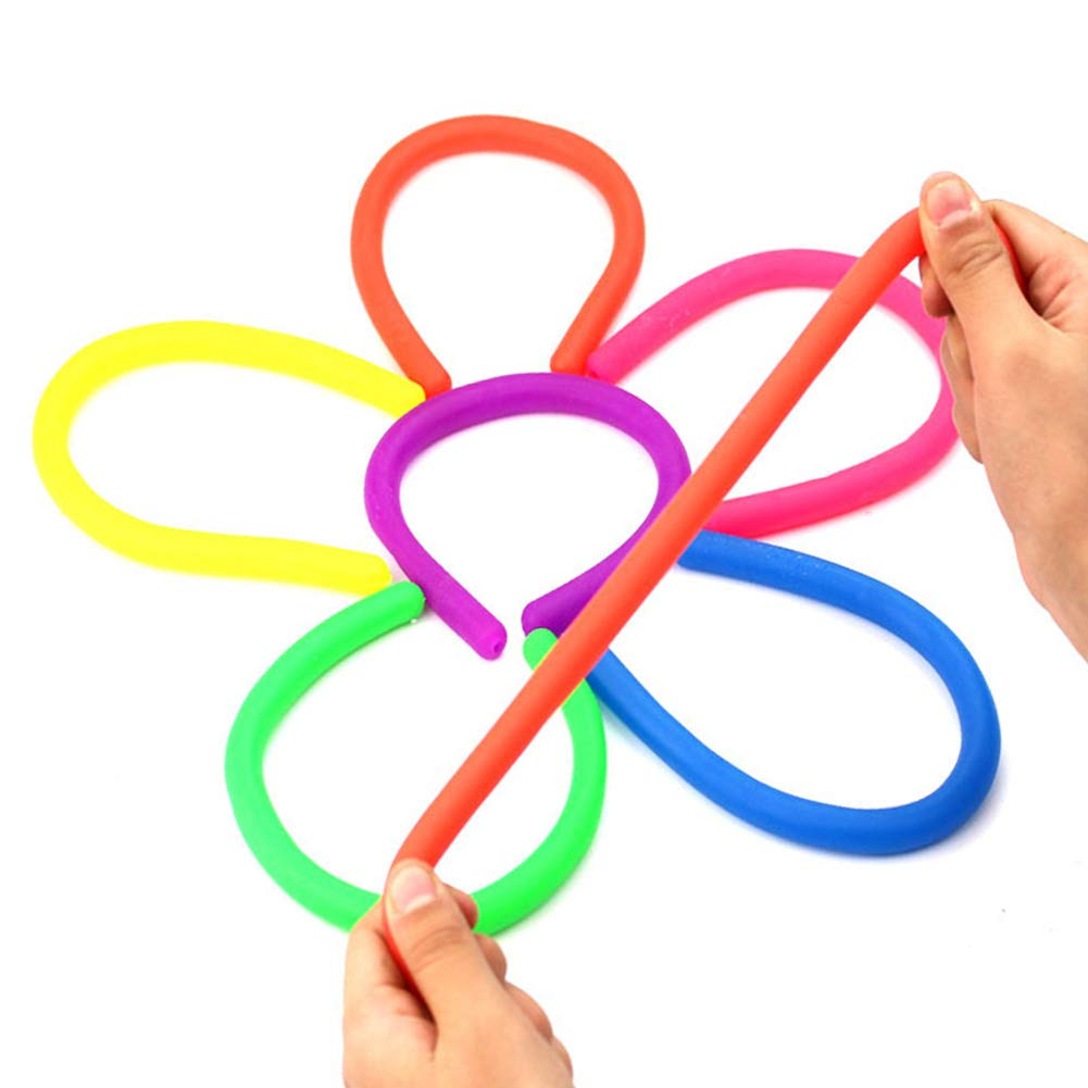 6 Pack Stretchy String Fidget Sensory Toys Relieve Stress and Increase Patience Build Resistance Squeeze Pull Good for Kids with ADD ADHD or Autism and Adults to Strengthen Arms