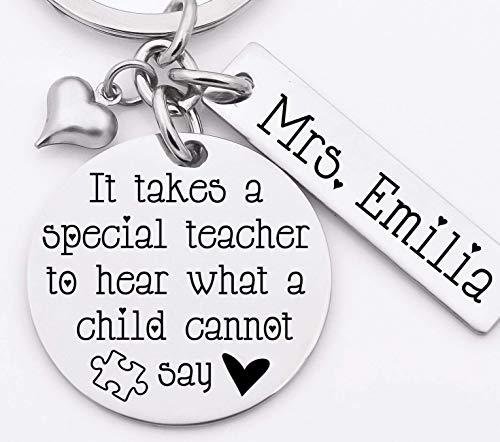 (Autism awareness key chain, stainless steel key chain, personalized, It takes a special teacher to hear what a child cannot say)