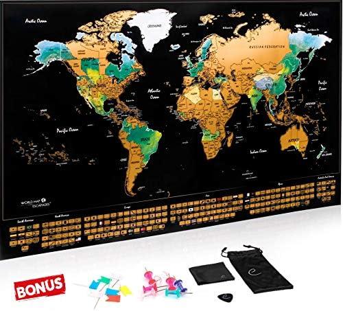 Escapades Mapa Mundi rascar XXL, edición Original con Las Banderas ...