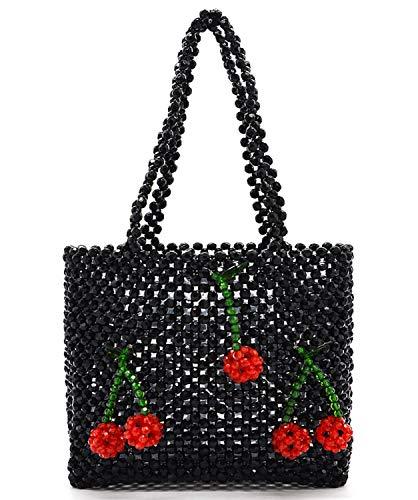 Miuco Women Handmade Handbag Beaded Weave Acrylic Cherry Clutch Bag Black