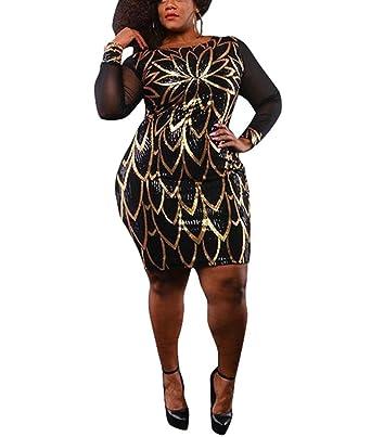 4d23dc5f823e Sprifloral Womens Gold Sequin Dresses Long Sleeve Mesh See Through Bodycon  Clubwear Mini Dress US 0