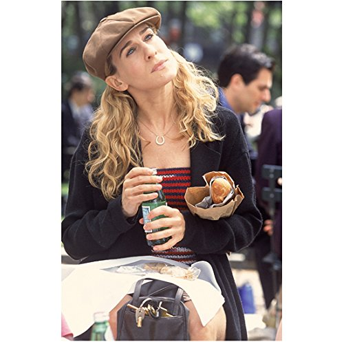 Sex and the City 8x10 Photo Sarah Jessica Parker Seated on Bench Cap Looking Up Expectantly kn
