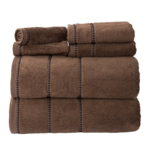 Luxury Cotton Towel Set- Quick Dry, Zero Twist and Soft 6 Piece Set With 2 Bath Towels, 2 Hand Towels and 2 Washcloths By Lavish Home (Chocolate) ()