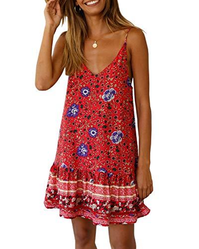 Dress Flounce Lace (Saikesigirl Womens Floral Spaghetti Strap Mini Dress Boho V Neck Loose Fitting Ruffle Bottom Short Party Club Dresses Burgundy)