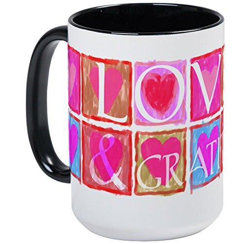 CafePress - Hearts, Love & Gratitude <Br>Large Mug - Coffee Mug, Large 15 oz. White Coffee Cup