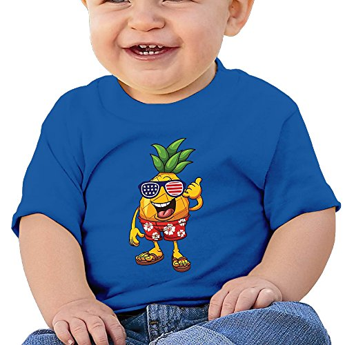 YYGOODS Pineapple With American Flag Independence Day Baby's Cute Round T-shirt,Shirts,Tshirt,T-shirts,Short Sleeve Tee Short-Sleeve Shirts