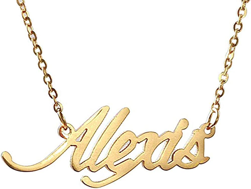 AsiaRhyme Brass Custom Name Necklace Personalized Initial Necklaces in Golden Copper